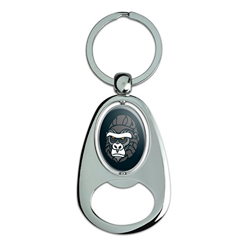 Graphics and More Gorilla Face Chrome Plated Metal Spinning Oval Design Bottle Opener Keychain ()