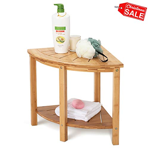 OasisSpace Corner Shower Stool, Bamboo Shower Bench with Storage Shelf, Wooden Spa Bath Organizer Seat, Perfect for Indoor or Outdoor (Stool)