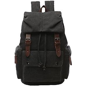 Large Canvas Backpack for Men, Yousu Travel Duffel Backpack School Casual Vintage Rucksack College Bookbags Knapsack (Black)
