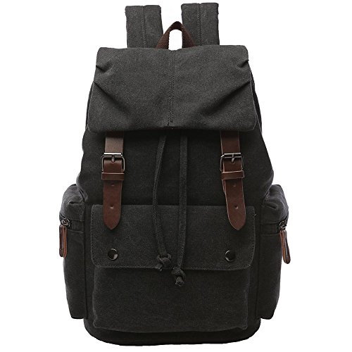 (Canvas Backpack for Men, Yousu Travel Duffel Backpack School Casual Vintage Rucksack College Bookbags Knapsack (Black))