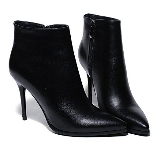 Women's Thin Heel Pointed Toe Zipper Closure Genuine Leather Ankle Boots Black