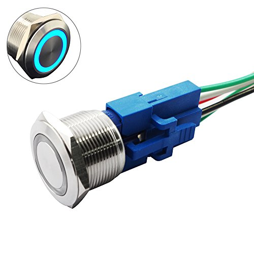 Yakamoz DC12V 22mm 7/8 [Mounting Hole] Blue Ring Led Light Momentary Push Button Switch Metal Industrial Boat Car DIY Switch Silver with Wired Connector Adapter