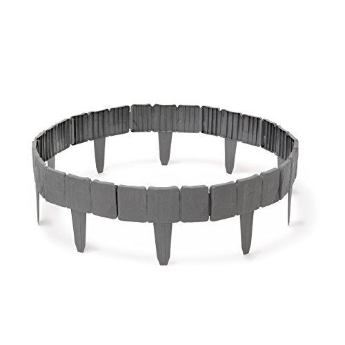 Relaxdays Rasenkante HBT ca. 10 x 250 x 2 cm Flexible Beeteinfassung aus Kunststoff in Stein-Optik Beetumrandung im 10-teiligen Stecksystem als Beetbegrenzung und Raseneinfassung, grau