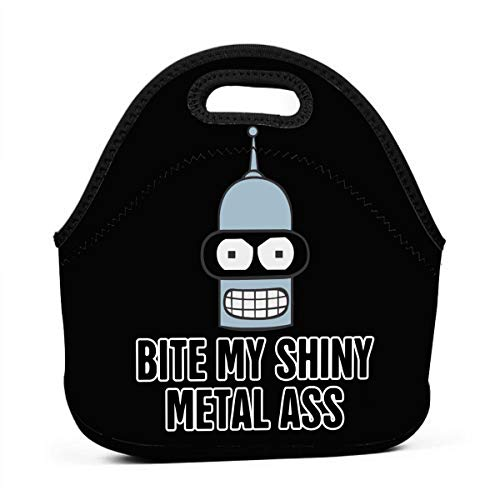 (Neoprene Lunch Tote Reusable Picnic Bag Soft Thermal Cooler Tote Multi-purpose Grocery Container, Futurama Bite My Shiny Metal Ass)