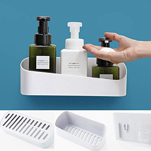 SUNFICON Adhesive Shower Caddy Basket Bathroom Shelf Organizer Wall Mounted Spices Storage Rack No Drilling Shower Shelf Bath Essentials Makeups Shampoo Holder with Traceless Clear Adhesive