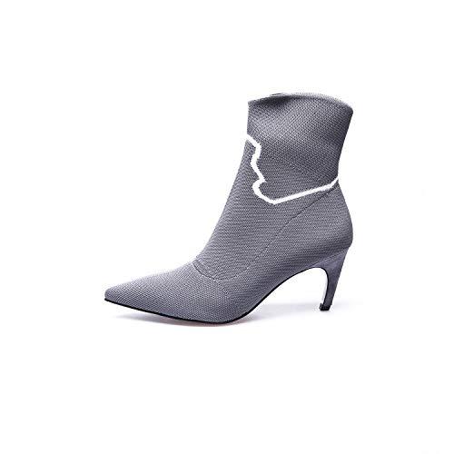 Grey Pointus Courtes à Stiletto Bottines Talons pour Femme 107pF