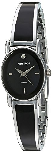Diamond Silver Tone Watch - Armitron Women's 75/5423BKSV Diamond-Accented Dial Silver-Tone and Black Bangle Watch