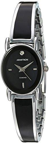 Armitron Women's 75/5423BKSV Diamond-Accented Dial Silver-Tone and Black Bangle Watch