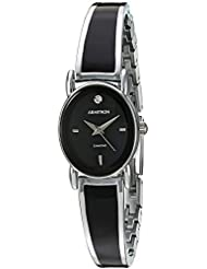 Armitron Womens 75/5423BKSV Diamond-Accented Dial Silver-Tone and Black Bangle Watch