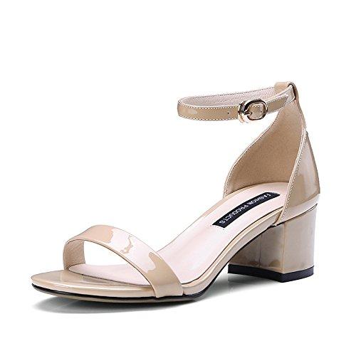 AJUNR Moda/elegante/Transpirable/Sandalias Zapatos de mujer Rocío-toe con audaces salvaje albaricoque tacones de 8 cm 34 36