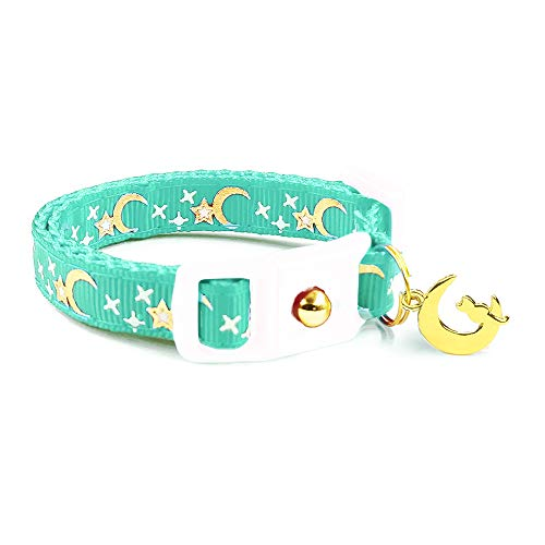 waaag Pet Collar Gold Moons Stars Cat Collar, Breakaway Cat Collar, Glow in The Dark (Aqua, 6.5