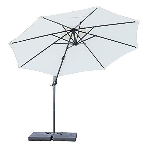 Outsunny 10' Hanging Tilt Offset Cantilever Patio Umbrella with Base Stand - Cream White ()
