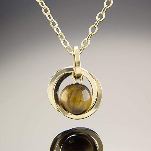 - Real Tiger Eye Gemstone 20 inch Pendant Necklace with 14K Yellow Gold Fill Circles