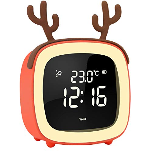 OYOCO Cute Digital Alarm Clock for Kids Women W Toddler Night Light,Dimmer,Sleep Timer,Rechargeable Battery,Indoor Temp for Bedrooms,Snooze,Simple Bedside Clocks,Unique Gifts (Coral)