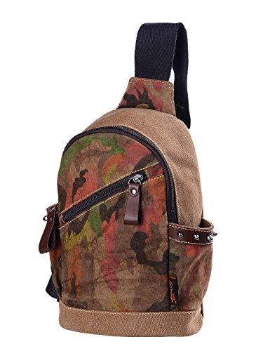Douguyan-Unisex Bolsa para cadáveres cruz de Lona Multi-use Chest Pack Camuflaje -E00169 Caqui Marrón