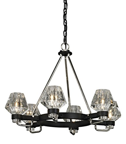 Troy Lighting F5886 Faction 6-Light Chandelier-Forged Iron and Polished Nickel-Clear Pressed Glass ()