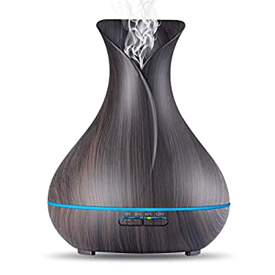 EliteShoppe - 400ml Aroma Essential Oil Diffuser Ultrasonic Air Humidifier with Wood Grain 7 Color Changing LED Lights for Office Home