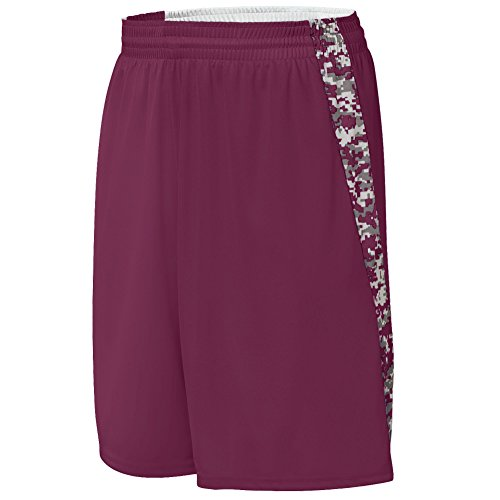 Augusta Sportswear Boys Hook Shot Reversible Short, Maroon/Maroon Digi, Medium