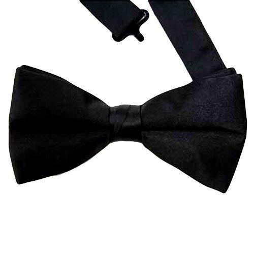 Alexander Tie - Formal Black Satin Banded Men's Bow Tie