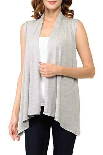 Fashion Aktiv Womens Sleeveless Open Front Waterfall Draped Cardigan Sweater Vest (Large, Heather Grey)
