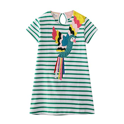 Age Birthday Gift - Eocom Little Girls Soft Summer Cotton Short Sleeve Dresses T-Shirt Casual Cartoon Dress (Stripe Bird, 5T)