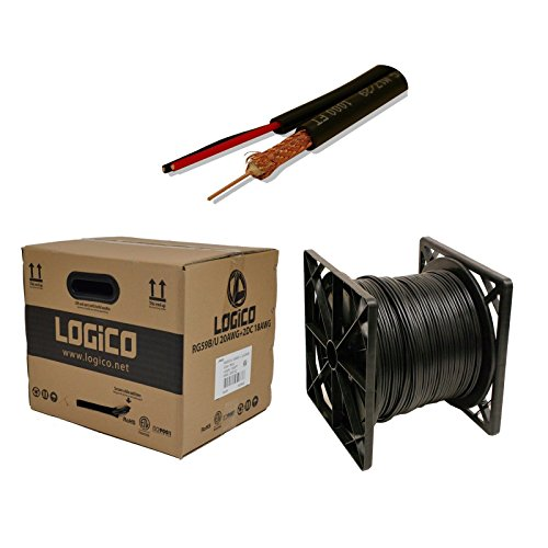 20AWG+18/2 CCTV SECURITY CAMERA WIRE SIAMESE COAXIAL CABLE 1000FT BULK BLACK RG59 by LOGICO