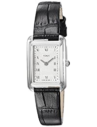 Fendi Women's 'Classico Rect' Swiss Quartz Stainless Steel and Leather Dress Watch, Color:Black (Model: F700026011)
