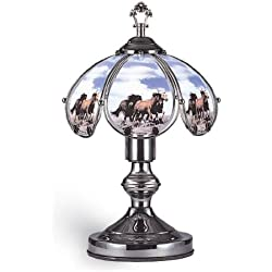 "OK Lighting OK-603C-HO6 Touch Lamp with Horse Theme, 14"" x 9"" x 9"" , Black Chrome"