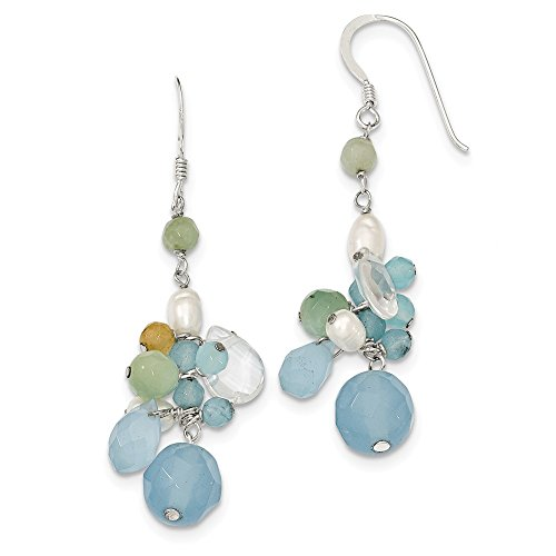 925 Sterling Silver Blue Lace Agate Opalite Crystal Amazonite FW Cultured Pearl Crystal Fw Cultured Pearl