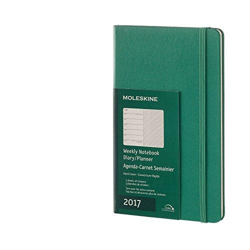 Moleskine Wochen Notizkalender, Taschenkalender, 12 Monate 2017, Groß, A5, Hard Cover, malachit-grün
