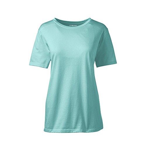 Lands' End Women's Relaxed Short Sleeve Supima Cotton Crew Neck T-Shirt, M, Seafoam Blue