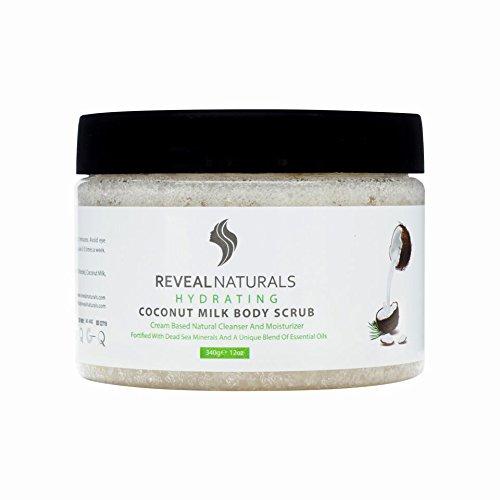 Reveal Naturals Body Scrub - Cocunut Face Scrub -Dead Sea Salt Facial Skin Care Scrub - 12 Ounces