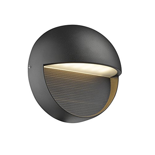 (Outdoor Wall Sconce, FLALINKO Aluminum LED Round Wall Light 8W Warm White for Garden Patio Exterior Corridor, 6-Inch Height, Down Light, Black Finish (Round) )