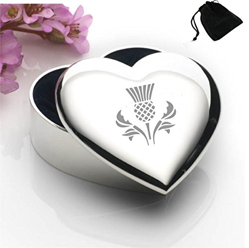 Silver Plated Heart Shaped Trinket Box With Scottish Thistle Design and Black Gift Pouch (Heart Box Silver Plated)