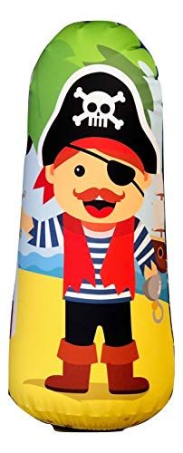 (BONK FIT High Performance Polyurethane Kids Inflatable Punching Bag Bop Toy PVC-Free with Machine Washable Designer Cover - Pirate)