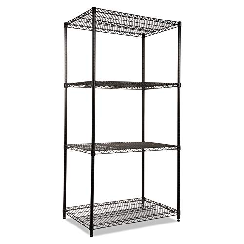 - Alera ALESW503624BL Industrial Heavy-Duty Wire Shelving Starter Kit, 4-Shelf, 36w x 24d x 72h, Black