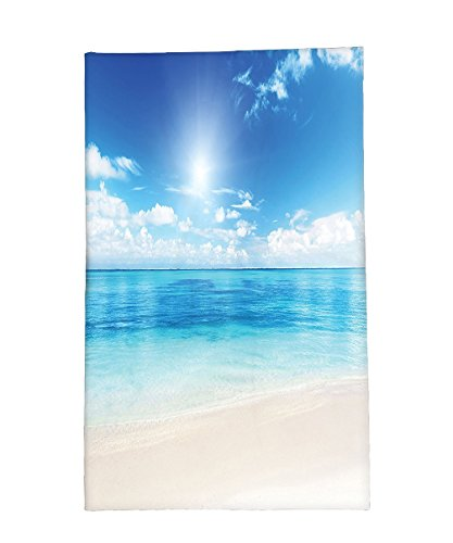 - Interestlee Fleece Throw Blanket Ocean Decor Golden Beach View From Caribbean Sea In A Sunny Day Exotic Summer Image Print Cream Turquoise White