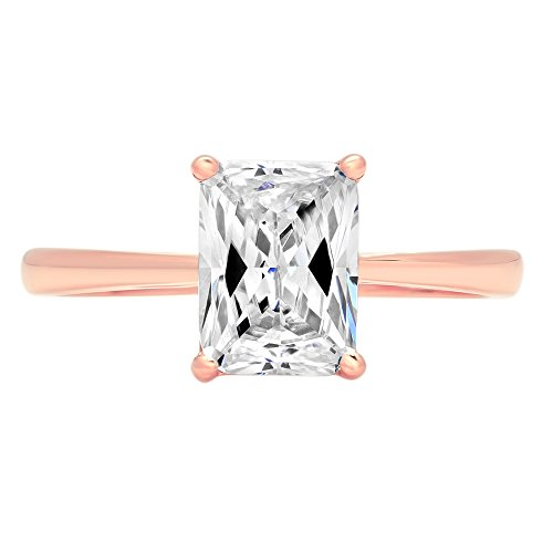 1.9ct Brilliant Emerald Cut Designer Solitaire Promise Anniversary Statement Engagement Wedding Bridal Promise Ring For Women Solid 14k Rose Gold, 5.5 by Clara Pucci
