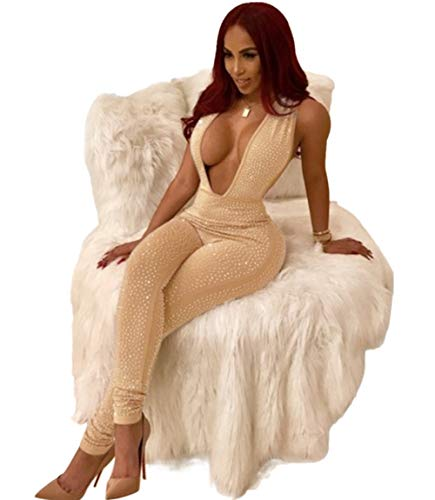 Women Deep V Neck Sequin Rhinestone Jumpsuit Sleeveless Clubwear Party One Piece Romper Khaki