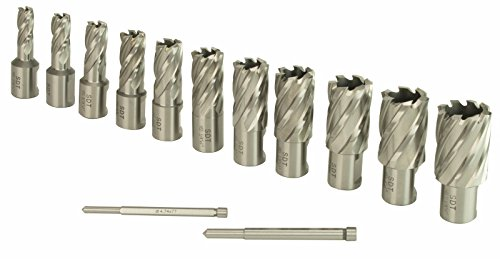 "Steel Dragon Tools 13pc. High Speed Steel HSS Annular Cutter Kit 1"" Depth and 7/16 in. to 1-1/16 in."