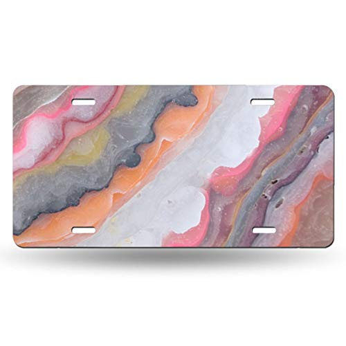Colorful Agate Stone Pattern Novelty Design Metal License Plate Tag Sign 6