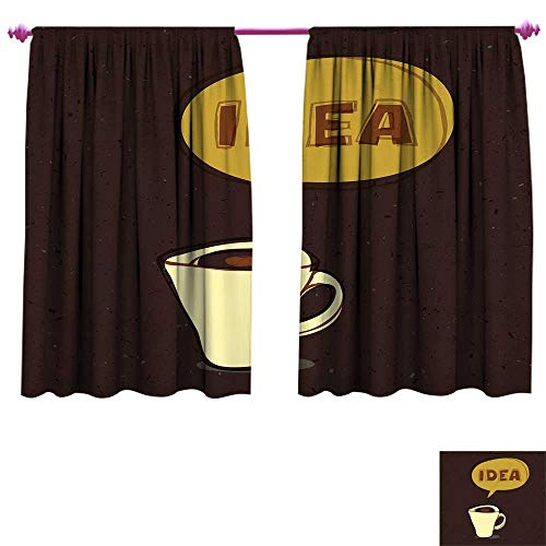 Coffee Waterproof Window Curtain Cup of Idea Concept Brew of Creativity and Imagination Sketch Art Decorative Curtains for Living Room W55 x L63 Dark Brown Mustard Cream