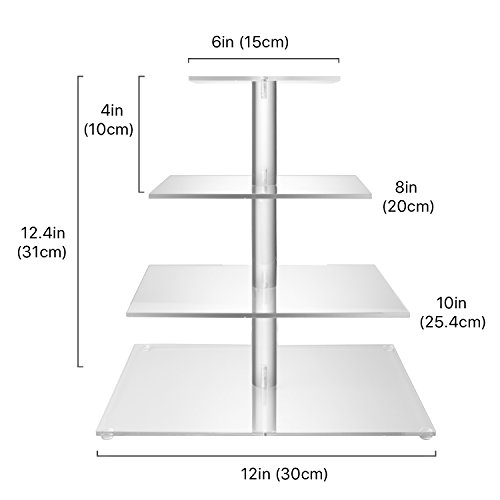 Flexzion 4 Tier Cupcake Stand Holder Tower - Wedding Birthday Party Plastic Pastry Display Tree for Baby Family Afternoon Dessert - Tiered Acrylic Glass Cake Carrier w/Top Tier (4 Tier Clear, Square) by Flexzion (Image #4)