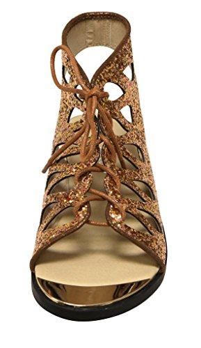 Voor Altijd Rosie-32 Dames Metalen Versiering Teen Glitter Geometrisch Veter Slingback Platte Sandalen Brons 5.5