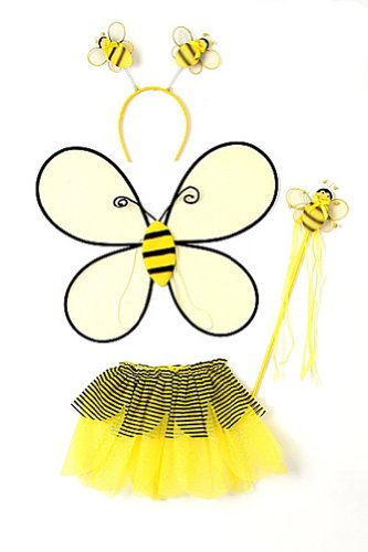 Yellow Toddler Girl Bumble Bee Wings Tutu Wand