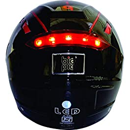 BIGPIE LED Full Face Helmet with Visor and USB Charging Cable (Black, L)