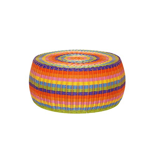 Outdoor Patio Round Wicker Ottoman Colorful Small Rainbow Footstool Rounded Shape Circular Living Room Furniture Indoor Boho Bohemian Strong Sturdy Low Height, Metal Resin ()