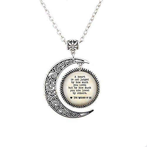 stap Wizard of Oz Quote A heart is not judged by how much you love; but by how much you are loved by others - Ruby Slippers Charm moon Necklace