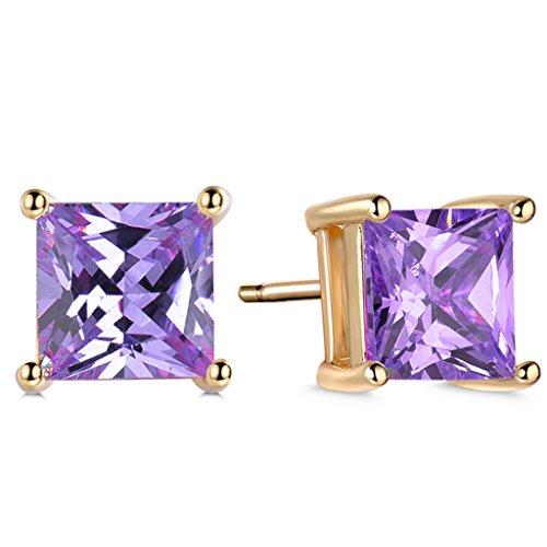 GULICX Yellow Gold Tone Amethyst Color Purple Zircon Gorgeous Stud bridal earrings