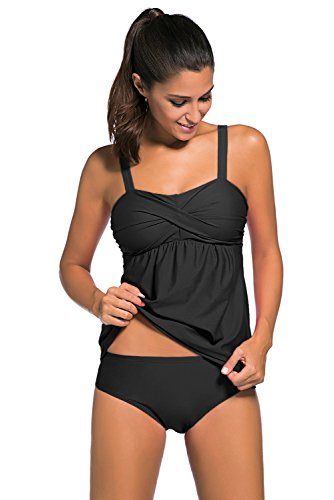 a53afbf815 Aleumdr Women's Solid Ruched Tankini Top Swimsuit with Triangle Briefs